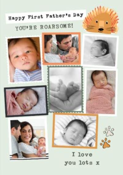 Roarsome First Father's Day Photo Upload Collage Card