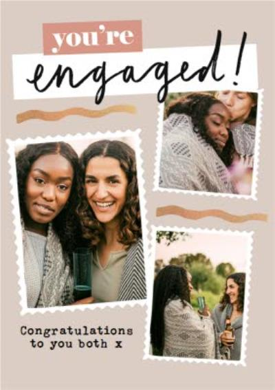 Congratulations You're Engaged Framed Photo Upload Engagment Card