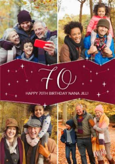 Multi Photo Upload 70th Stars Birthday Card