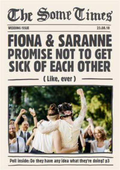 Wedding Card - Wedding Congratulations - Photo Upload - Newspaper Style