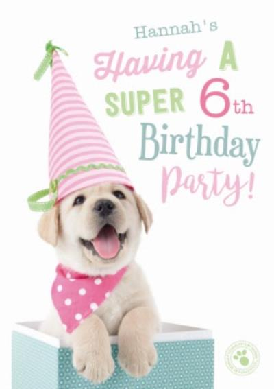 Cute Puppy Birthday Party Invitation