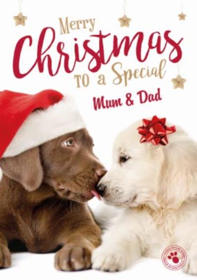 Puppy Kisses Personalised Christmas Card