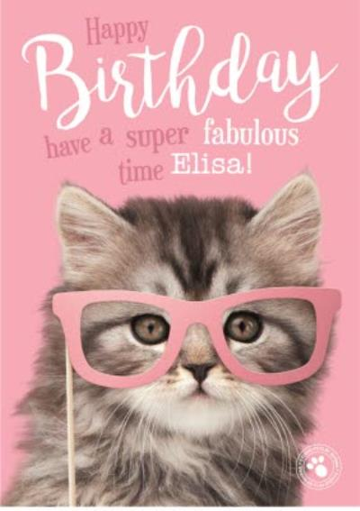 Studio Pets Cat Glasses Personalised Text Birthday Card
