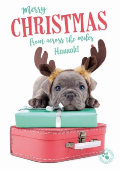 Puppy On A Suitcase Across The Miles Personalised Christmas Card