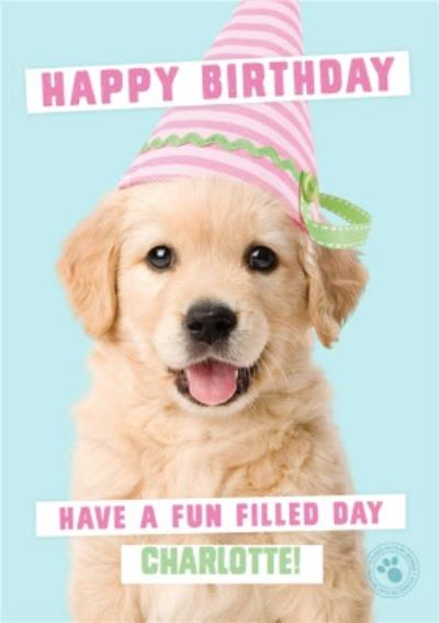 Puppy wearing a birthday hat Personalised Birthday Card