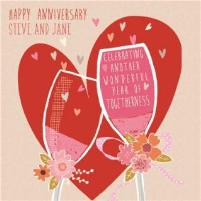 Big Bright Red Heart And Champagne Toast Happy Anniversary Card