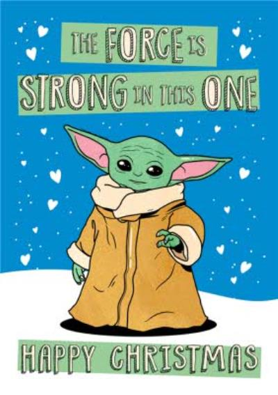 Star Wars The Mandalorian Force Is Strong Baby Yoda Christmas Card