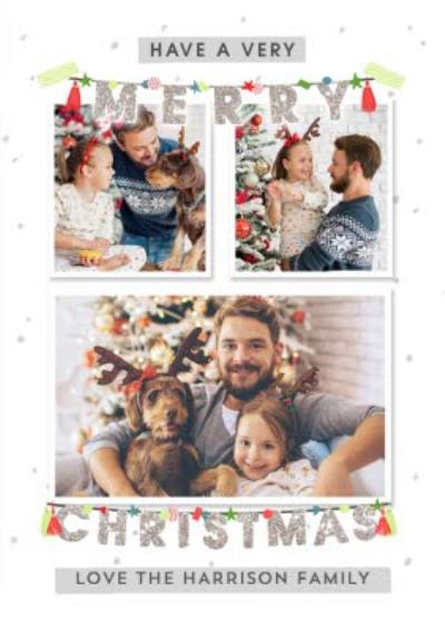 Have a Very Merry Christmas Photo upload Family card
