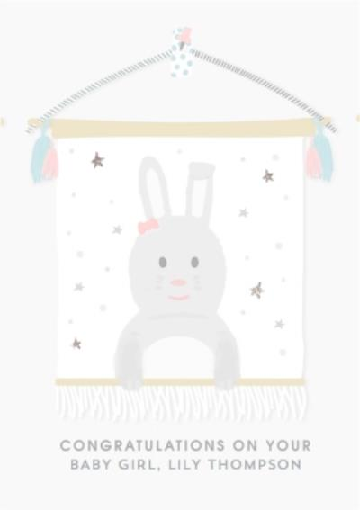Congratulations On Your Baby Girl Cute Bunny Card