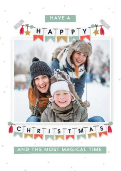 Magical Happy Christmas Bunting Photo Upload Card