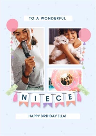 Photo Upload To A Wonderful Niece Bunting Birthday Card