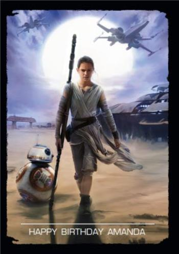 Star Wars Rey And Bb 8 Personalised Happy Birthday Card Moonpig