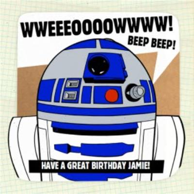 Star Wars R2D2 Personalised Birthday Card