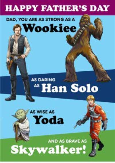 Star Wars Wookiee Hans Yoda Skywalker Fathers Day Card