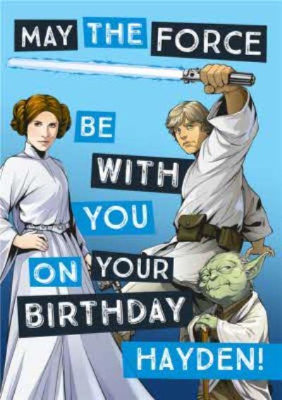Star Wars Birthday card - Princess leia - Luke Skywalker - Yoda
