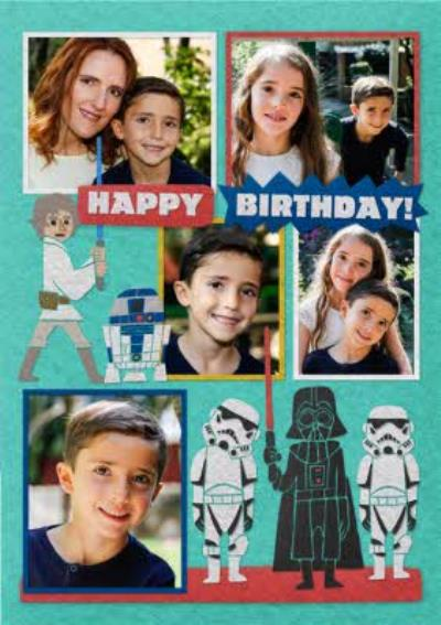 Star Wars Birthday Photo Upload Card - Darth Vader - R2D2 - Jedi