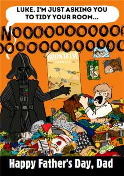 Star Wars Darth Vader & Luke Tidy Your Room Funny Father's Day Card