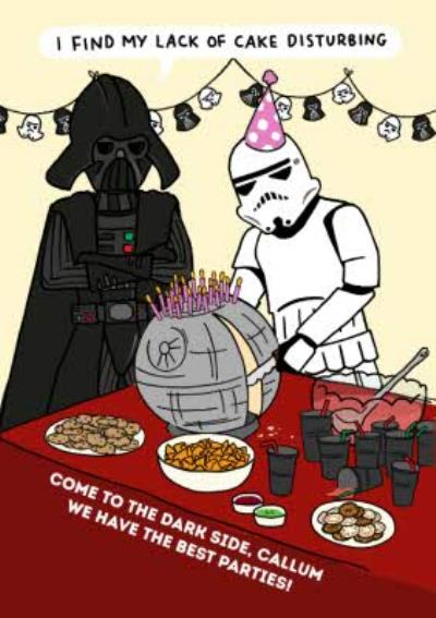 Star Wars funny birthday Card - I find my lack of cake disturbing