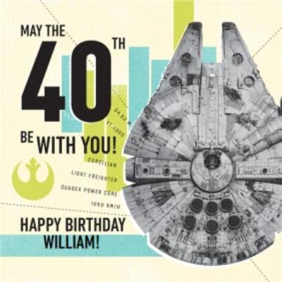 Star Wars Millennium Falcon may the force be with you 40th birthday card