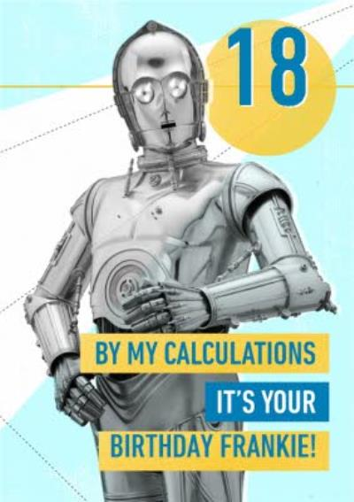 Star Wars C3PO Funny 18th birthday card