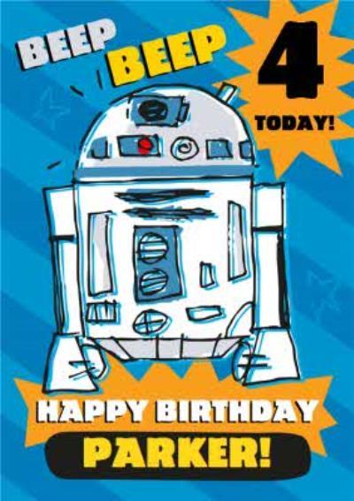 Disney Star Wars R2D2 4 today kids Birthday card