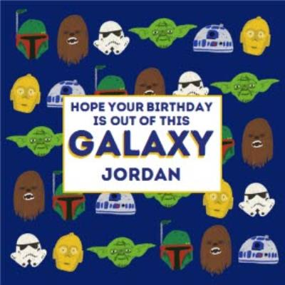 Disney Star Wars Boba Fett Chewbacca Yoda R2D2 Stormtrooper out of this galaxy kids Birthday card