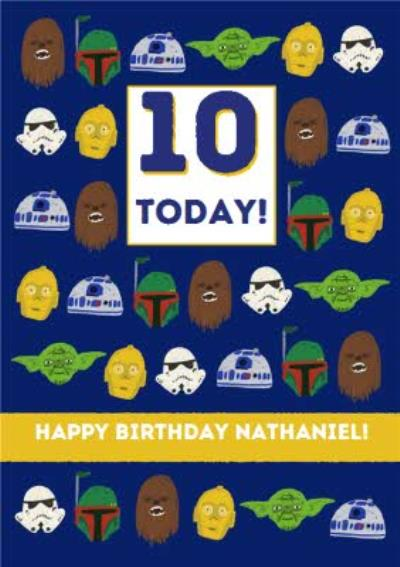 Disney Star Wars Boba Fett Chewbacca Yoda R2D2 Stormtrooper kids 10 today Birthday card