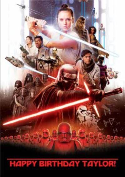 Star Wars Episode 9 The Rise of Skywalker film birthday card