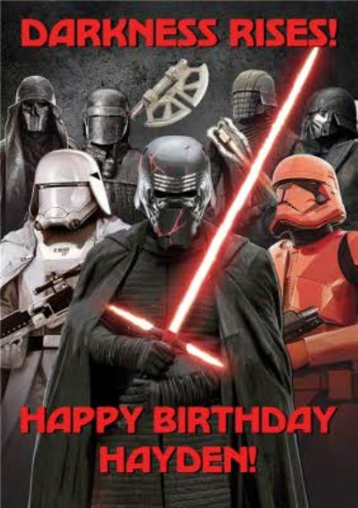 Star Wars Episode 9 The Rise of Skywalker Kylo Ren Stormtrooper Dark side personalised birthday card