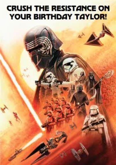Star Wars Episode 9 The Rise of Skywalker Kylo Ren Dark side personalised birthday card