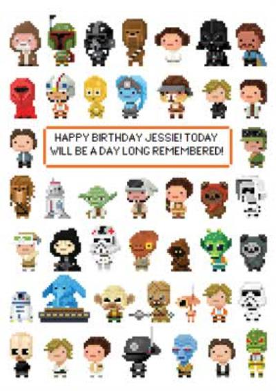 Star Wars Characters 8 Bit Gaming Birthday Card