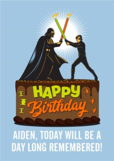 Star Wars Lightsaber Candles Birthday Card