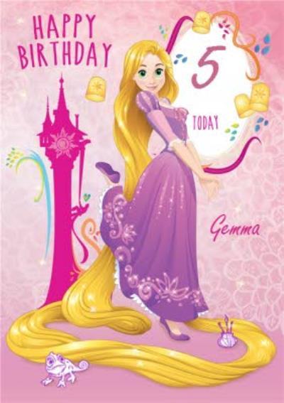 Disney Princess Rapunzel Personalised Happy 5th Birthday Card