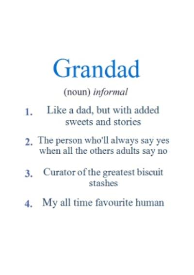 Dictionary Definition Of Grandad Father's Day Card