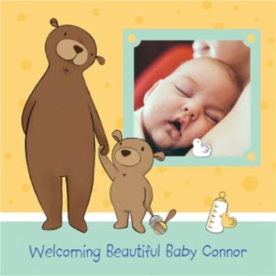 Paw-Holding Bears New Baby Boy Photo Card