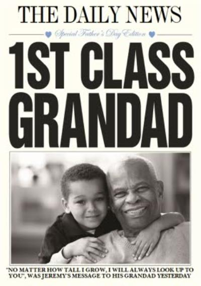 The Daily News Ist Class Grandad Personalised Photo Card
