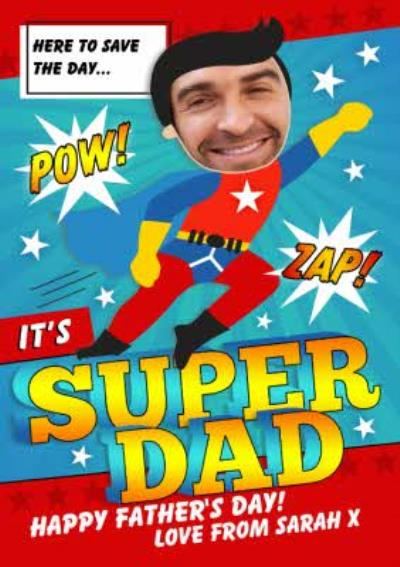 Cartoon Super Dad Photo Upload Card