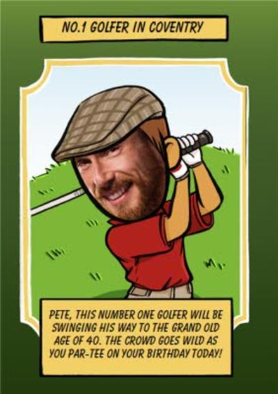 Birthday Card - Face In The Hole - Male - Photo Upload - Sport - Golfer