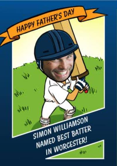 Personalised Top Cricket Batter Happy Father's Day Face Photo Card
