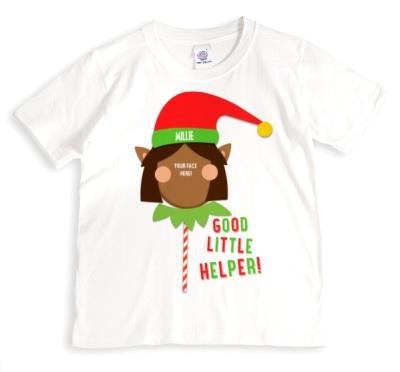 Merry Christmas Elf Helper 4 Photo Upload T-shirt