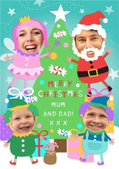 Tree And Festive Characters Personalised Photo Upload Merry Christmas Card