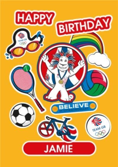 Team GB Happy Birthday Sporty Personalised Card