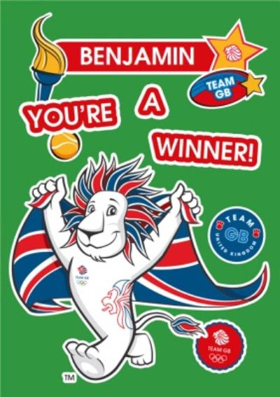 Team GB You Are A Winner Sporty Personalised Card