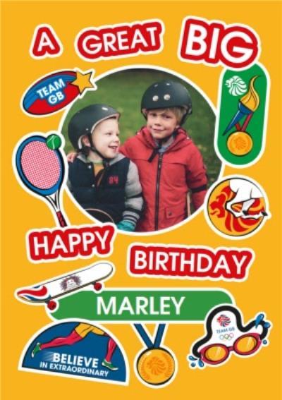 Team GB A Great Big Happy Birthday Photo Upload Card