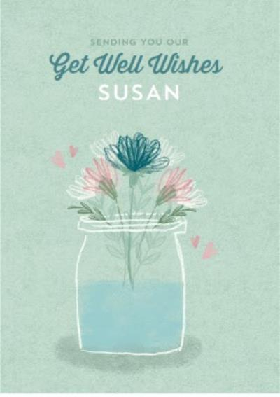 Get well wishes - floral card - traditional card