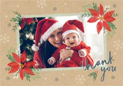 Christmas Card - Thank You - Poinsettia - Photo Upload