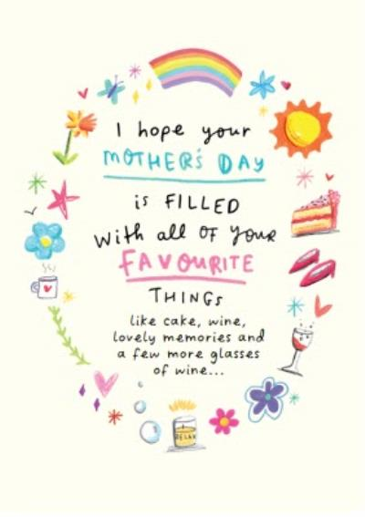 Mothers Day Favourite Things Rainbow Card