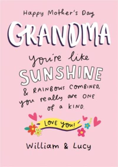 Grandma You're Like Sunshine Personalised Mother's Day Card