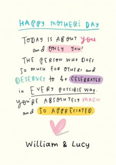 Today Is About You And Only You Personalised Mother's Day Card