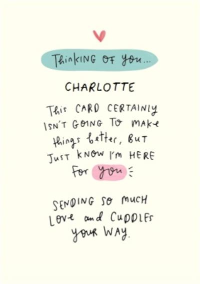 Here For You Writing Personalised Sympathy Postcard